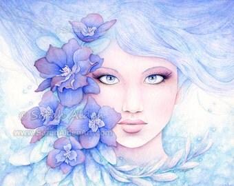 Fantasy Print Watercolor Girl Painting, Flower Girl Print, Blue Larkspur Flower Boho Art Print, Watercolor Flower Print Blue Flower Painting