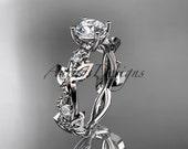 14kt white gold diamond leaf and vine wedding ring, engagement ring ADLR59