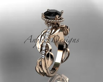 Unique 14k rose gold diamond leaf and vine diamond engagement ring with black diamond center stone,ADLR231