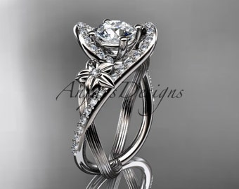 14k white gold leaf and flower diamond unique engagement ring, wedding ring ADLR369