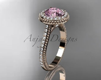 14kt  rose gold diamond unique engagement ring, wedding ring with pink topaz center stone ADER97