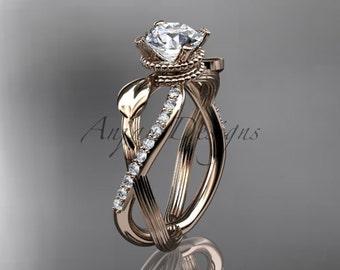 "14kt rose gold diamond leaf and vine wedding ring, engagement ring with ""Forever One"" Moissanite center stone ADLR70"