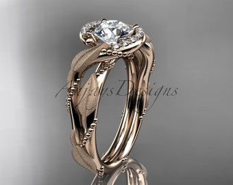 14kt rose gold diamond leaf and vine wedding ring, engagement ring ADLR65