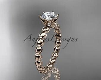 14k rose gold diamond vine and leaf wedding ring,engagement ring ADLR34