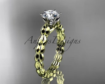 14k  yellow gold diamond vine and leaf wedding ring,engagement ring. ADLR35
