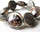 Stretch Bracelet Chunky Beaded with Metal Accents Large Beads in Copper Black Clear Silver Statement Jewellery Fashion