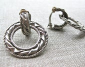 Hoop Convertible Earrings Silver Etched Unique Round Soft Backs 1980s Jewellery