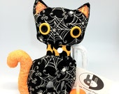 Spider web black stuffed cat plushie for halloween decor, black and orange soft halloween cat in cotton fabrics