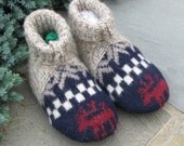Wool slippers - Wool sock slippers - Leather sole - Repurposed wool slippers