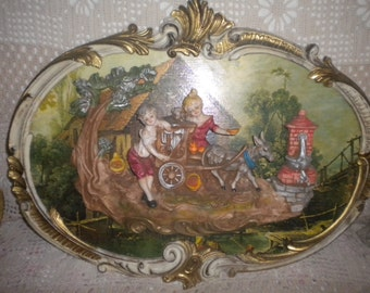 AMAZING RARE vintage 3D Empire, Made in Italy Wall Hanging, Florentine Style, French. Unique
