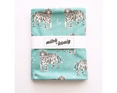 Organic Cotton Knit Baby Swaddle White Turquoise Tiger Tribal