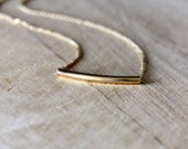 curved gold bar necklace | delicate 14k gold filled chain | minimalist 14k gold filled necklace | simple layering necklace | girlthree