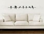 "Birds On A Wire Vinyl Decal - Home Decor - Silhouette - Love Birds - Sparrows - Childrens Nursery Decor - Wall Decal - SALE - 48"""