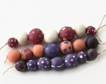 Handmade beads from South Africa, 3 bead strands,  African beads, Bead shop, Clay beads, Artisan Beads, purple beads, ceramic beads