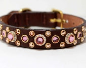 """3/4"""" or 1"""" wide Rhinestone Dog Collar with Swarovski Crystals, Rose Gold and Antique Pink Crystal Dog Collar"""