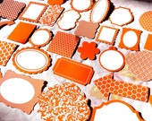 60 Scrapbooking Die Cuts Paper Stock 20 Lilac, 20 Orange and 20 teal