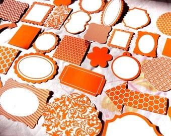 60 Scrapbooking Die Cuts Paper Stock 20 Lilac, 20 Orange and 20 teal