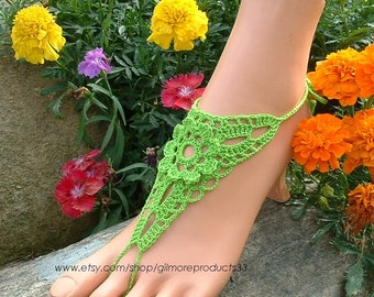 Lime Green Crochet Barefoot Sandals, Foot Jewelry, Bridal Anklet, Hippie Sandal, Boho, Bohemian, Lace Barefoot Shoes, Footwear, Accessories