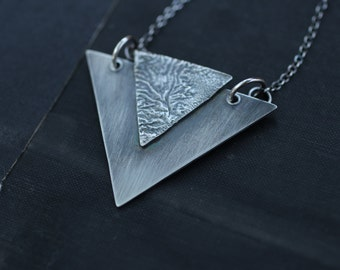 Triangle Necklace in Reticulated Silver, Art Deco Necklace
