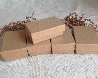 20 Kraft Gift Jewelry Box 2 5/8'' x 1 1/2'' x 1''