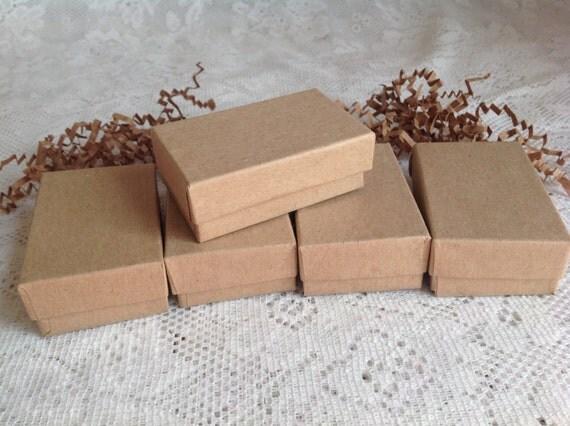 20 Kraft Gift Jewelry Box cotton filled 2 5/8'' x 1 1/2'' x 1''