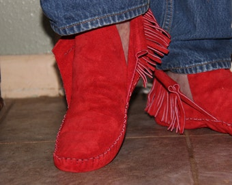 Red Suede Moccasin
