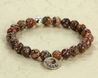 Leopardskin Jasper Stacking Bracelet with Hill Tribe Sunshine Charm, Stretch Bracelet, Sterling Silver