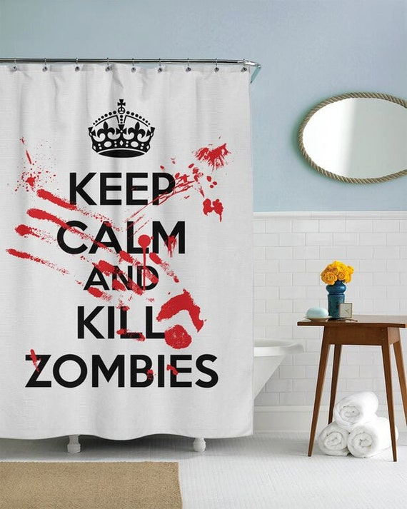 Keep calm and kill zombies shower curtain in this house we for Zombie bathroom decor