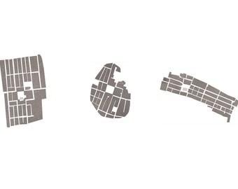 block plans of three bastides, Dordogne — limited edition archival print
