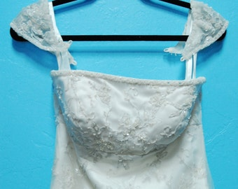 Vintage Ivory & Silver Wedding Gown Dress Size 8