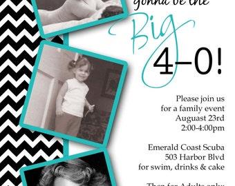 Milestone Birthday The Big 30th 40th 50th 60th 70th Any Age Birthday Party Invitation Card   - You Print
