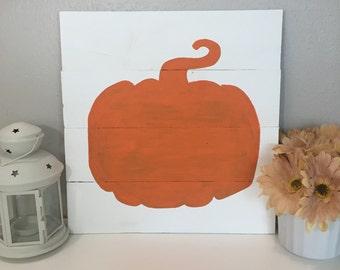 Pumpkin sign, halloween decor, thanksgiving sign, fall sign, orange pumpkin, 14x14, fall decor, thanksgiving decor