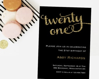 Twenty One Birthday Invitation - 5x7 Birthday Invitations - Free Shipping