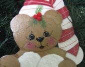 Bear, ornament, wood, handpainted, Christmas, pine, berries, snow, glitter,