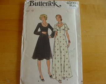 VINTAGE 1970s Butterick Pattern 4500, Misses High, Fitted, Flared Evening Dress, Size 12, Bust 34, Uncut