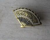 Vintage Damascene fan brooch