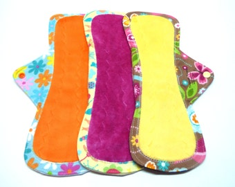 "NEW 12"" OBV or Minky Mama Cloth Menstrual Pads / Cloth Pads / Incontinence Pads - Set of 3 - Customize Your Fabrics and Backing"