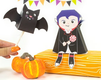 DIY Lil Dracula Halloween Treat Box and Bat Lollipop Cover, Printable Vampire Gift Box, Halloween Paper Crafts, Instant Download