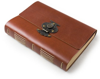 Leather Journal Diary with Vintage Flower Vase Lock A5 Blank Lined Craft Papers Red Brown Gift