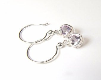 Amethyst ('Rose de France' Amethyst), Heart Cut, 6mm x 6mm x 0.65 Carat, Sterling Silver Dangle Earrings