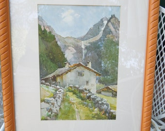 MARC Watercolor Lithograph Litho Nicholas Markovitch Swiss Alps Village Vintage Framed