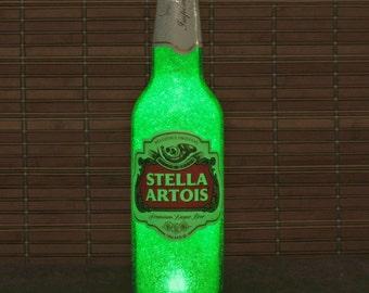 Stella Artois LED Beer Bottle Lamp Big 24oz Bar Light Man Cave Belgium Lager Emerald Green Glow eco led