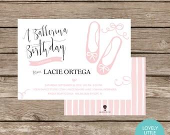 DIY Printable Ballerina, Ballet Themed, Birthday Invitation