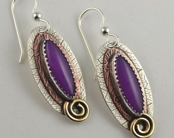 Purple Jade Earrings - Mixed Metal Earrings - Metalsmith Earrings
