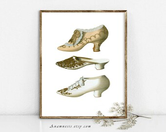 THREE FRENCH SHOES - Instant Digital Download - printable antique French fashion image for framing, totes, crafts, wall decor, tags, cards