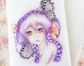 Butterfly girl card, girl's birthday card, blank greeting card, anime girl, manga style, pretty girls card, big eye girl art, 5x7 art card