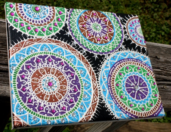 whimsical mandala painting on canvas artwork rhinestones and. Black Bedroom Furniture Sets. Home Design Ideas