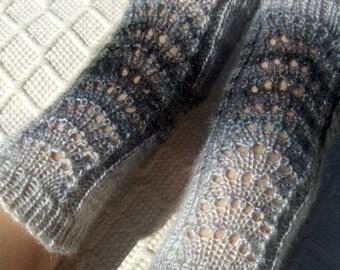 Lucy -Yoga socks warmers, dance pilates spa socks, women/ teen girl, handknitted, in shades of grays, lace socks, Handmade in Finland