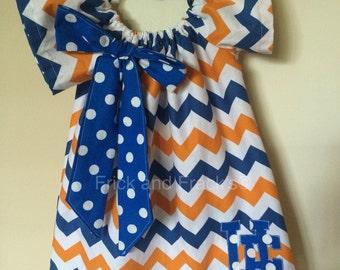 Orange and Blue Peasant Dress/ Blue and Orange Drss with Bow
