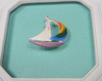 Sailboat Brooch or Pin, Multi-Colored Enamel Vintage Figural